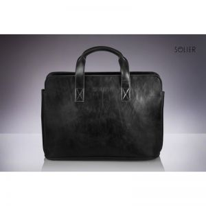 Classic black messenger bag S05